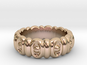 Eyes Ring 29 - Italian Size 29 in 14k Rose Gold Plated Brass
