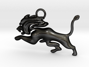 Roaming Lion Pendant in Matte Black Steel