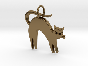 Pretty Kitty Pendant in Polished Bronze