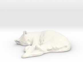 Sleeping Cat 01 in Gloss White Porcelain