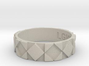Futuristic Rhombus Ring Size 14 in Natural Sandstone