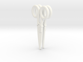 Scissor Earrings in White Processed Versatile Plastic