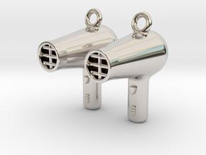 Hair Dryer Earrings in Platinum