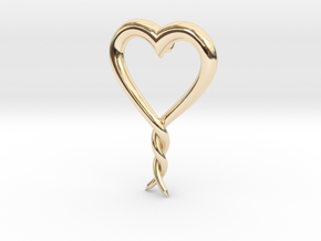 Twisted Heart 2 in 14K Yellow Gold