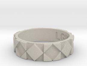 Futuristic Rhombus Ring Size 10 in Natural Sandstone