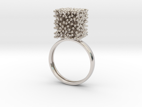 Constantina Architectural Coral Ring in Rhodium Plated Brass