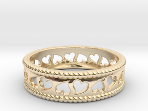 Size 9 Hearts Ring A in 14K Yellow Gold