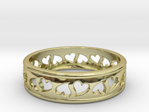 Size 7 Hearts Ring B in 18k Gold Plated
