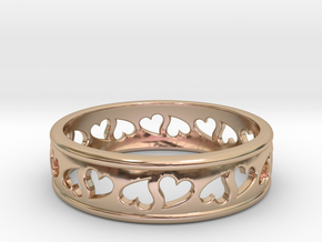 Size 8 Hearts Ring B in 14k Rose Gold Plated Brass