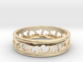 Size 9 Hearts Ring B in 14k Gold Plated Brass