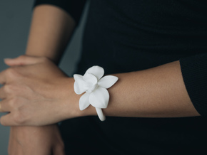 Orchid Bracelet- Nylon Version in White Natural Versatile Plastic: Medium
