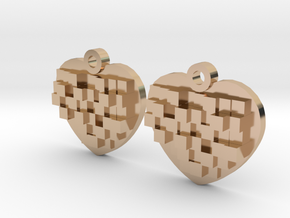 Mosaic Heart Earrings Small in 14k Rose Gold Plated Brass