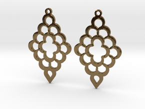 Diamond Shaped Shaped Earrings in Polished Bronze