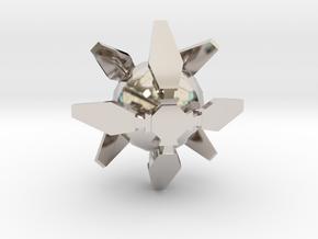 Ingress Portal Shield Pendant (1 inch)  in Rhodium Plated Brass