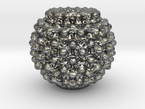 Mandelbulb Charm in Fine Detail Polished Silver