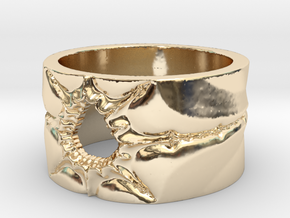 Mandelbrot Ring 2 Ring Size 8.25 in 14k Gold Plated Brass