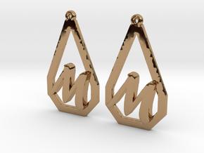 Teardrop Monogram Earrings Small (customizable) in Polished Brass