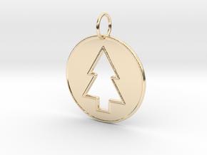 Gravity Falls Pine Tree Pendant in 14K Yellow Gold