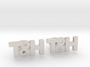 Monogram Cufflinks T&H in Rhodium Plated Brass