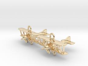Biplane Earrings in 14k Gold Plated Brass