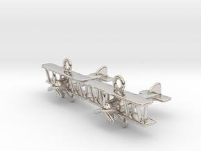 Biplane Earrings in Rhodium Plated Brass