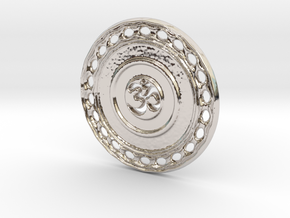 OM Particle Coin in Rhodium Plated Brass