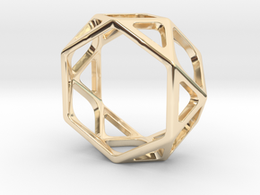 Structural Ring size 7 in 14k Gold Plated Brass