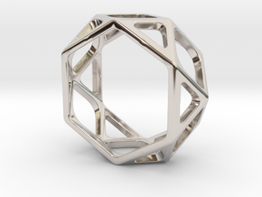 Structural Ring size 7 in Rhodium Plated Brass