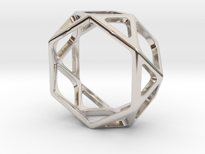 Structural Ring size 7,5 in Rhodium Plated Brass