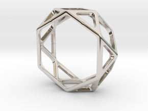 Structural Ring size 11,5 in Rhodium Plated Brass
