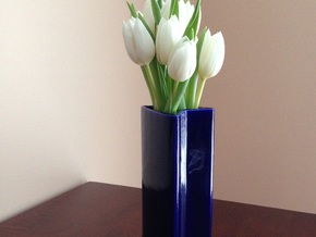 3-Flower Vase in Gloss Cobalt Blue Porcelain