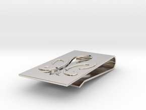 Fluer De Lis Money Clip  in Rhodium Plated Brass