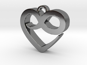 Infini Heart Necklace in Fine Detail Polished Silver