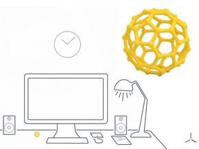 Buckyball - DeskToys in Yellow Processed Versatile Plastic