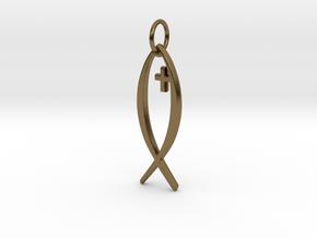 Jesus Fish Pendant in Polished Bronze