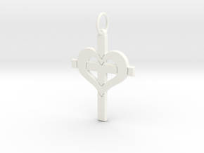 Christ in your Heart Crucifix Pendant in White Processed Versatile Plastic