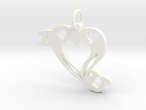 I Heart (Love)You Pendant in White Processed Versatile Plastic
