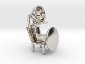 Lala - Relaxing in chair - DeskToys in Rhodium Plated Brass