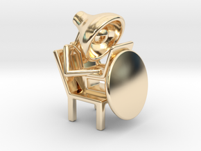 Lala - Working in computer - DeskToys in 14k Gold Plated Brass