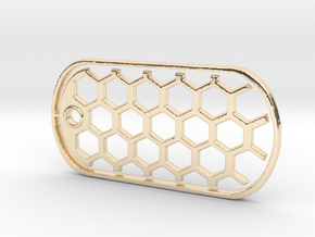 Honeycomb Dog Tag in 14K Yellow Gold