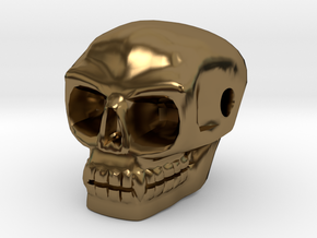 Skull bead (Side threading) in Polished Bronze