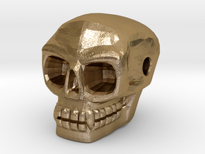 Skull bead (Side threading) in Polished Gold Steel