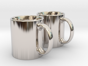 Mug Earrings in Rhodium Plated Brass