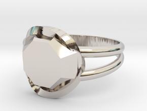 Size 7 Diamond Ring in Rhodium Plated Brass