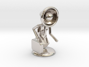 """Lala as """"Executive Manager"""" - DeskToys in Rhodium Plated Brass"""