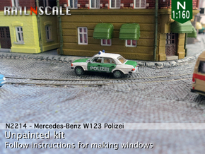 Mercedes-Benz W123 Polizei (N 1:160) in Smooth Fine Detail Plastic