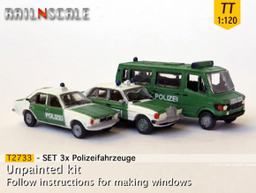 SET 3x Polizeifahrzeuge (TT 1:120) in Smooth Fine Detail Plastic