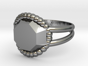 Size 6 Diamond Ring A in Fine Detail Polished Silver