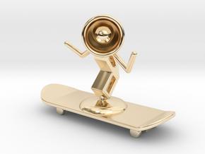 Lala - Skating - DeskToys in 14k Gold Plated Brass