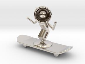 Lala - Skating - DeskToys in Rhodium Plated Brass